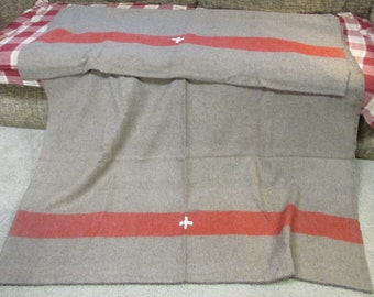 Wool Swiss style army surplus blanket grey brown with red stripe and white cross camp medic military retro
