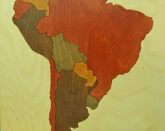 IN STOCK Wooden map puzzle of South America - an educational toy for adults, geography teachers and students -Teaches countries and capitals