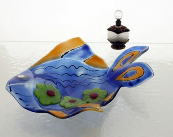 Blue fish Dish  - Multipurpose fused Glass art -  Jewelry holder  - candle holder - Spoon Rest.