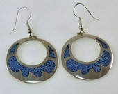 Vintage Silver Hoop Earrings with Turquiose Inlay - Stamped Alpaca Mexico