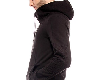 Nomad, anime inspired cyberpunk hoodie with cowl by Plastik Wrap, all sizes available.