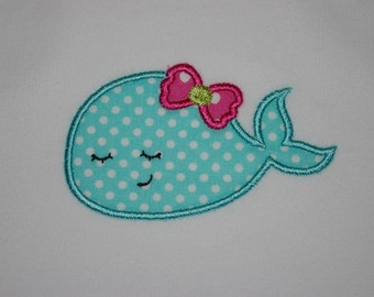 Sleepy Whale Onesie, turquoise polka dot, made to order