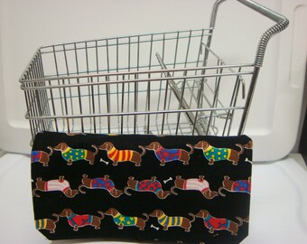 Coupon Organizer / Budget Organizer Holder-  Attaches to your Shopping Cart- Dashshund Puppies in Sweaters