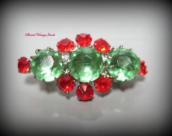 Czech Small Brooch/Pin Peridot Green Bright Red Crystal Stones Italy