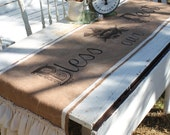 """Burlap Table Runner - """"Bless Our Nest"""" - Farmhouse -Muslin and Vintage Lace Ruffles -  By:Sweet Magnolias Farm"""