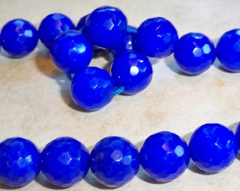 Pretty Sapphire Colored Quartz Faceted Round Beads  10mm