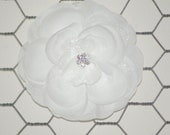 Beautiful White Hair Flower Rose Hair Flower with Jewel Center and Layers of Tulle