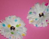 Set of 2 Small White and Rainbow Polka Dot Hair Flower Bow no slip grips Daisy