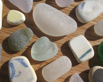 Genuine Beautiful Surf Tumbled Sea Glass & Pottery Gems for Jewelry