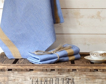 2 French Blue Linen  Towels/ Nauticcal towel /shabby chic kitchen /  as seen in Better Homes and Gardens