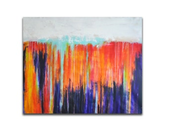 Large Original Abstract Painting Colorful Rainbow Modern XXL Art UNSTRETCHED Rolled in a tube 47x37""