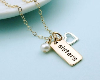 Gold Sisters Necklace, Sterling Silver Heart, gift for sisters, gift for her