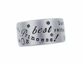 Personalized Mother's Sterling Silver Ring Hand Stamped Names Dates Custom Graffiti Layout Unisex Engraved Mommy Jewelry Artisan Handmade