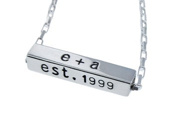 Personalized Sterling Silver Rectangle Name Bar Necklace