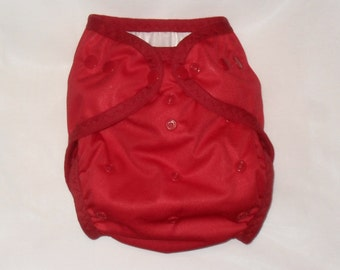 Red one size AI2 snap diaper