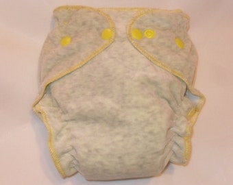 Gray cotton velour fitted diaper