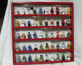 Handcrafted Solid Pine Gloss Red Paint, 50 spot  Legos Minifigure  Display Shelves w/ Black round 2x2 Legos plates
