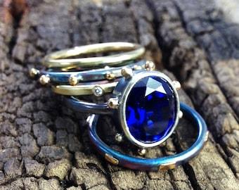 Diamond Ring 18K Gold Ring Stacking Rings Handmade Wild Prairie Silver Jewelry Joy Kruse