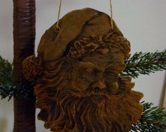 Blackened Beeswax Santa Face Ornie  #408