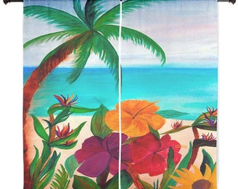 Tropical Floral Beach Sheer Curtains