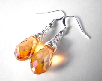 Topaz briolette earrings, silver wire wrapped golden amber AB faceted crystal drop earrings