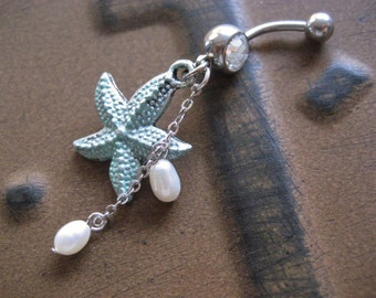 Belly Button Ring Jewelry. Mint Starfish Belly Button Ring Jewelry Star Fish Turquoise Green Patina Pearl Charm Navel Piercing Bar Barbell