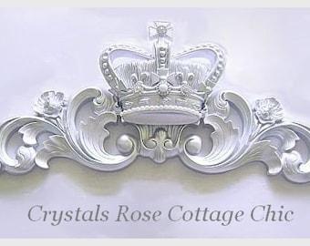 Metallic Silver Fleur De Lis Bed Crown Canopy Window Wall Pediment Princess Color