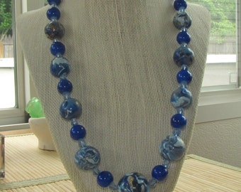 Faux Lapis Beaded Statement Necklace - Polymer Clay Statement Jewelry for Women