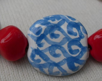 Kazuri Beads Bracelet for Large Wrist Red White and Blue Toggle Clasp Free Trade Beads