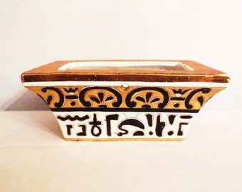Egyptian- Vintage Planter Hieroglyphics Gold Gilt  Black and White