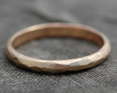Faceted Textured Gold Stacking Ring- 14k Recycled White, Yellow, or Rose Gold