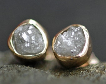 Rough Diamond and 18k Recycled Gold Bezel Post Earrings