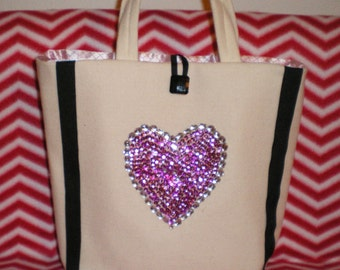 Handbag Off White Pink Heart Purse