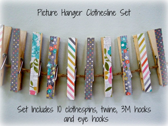 Clothesline Photo Display Clothespin Set Country By