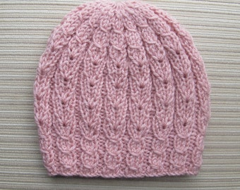 Knitting Pattern #162 Hat with Eyelet Braids for a Lady