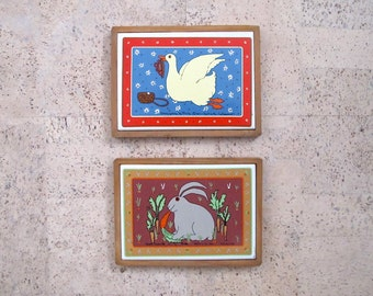 Taylor and Ng Vintage Tiles, Rascal Rabbit Gracey Goose, Framed Tile Trivets San Francisco, Bunny Decor Cottage Kitchen Decorations