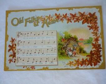 Old Folks at Home, Antique Edwardian Song Postcard, Unused, Black Americana