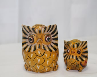 Set of 2 Tribal Hand Painted Wooden Owls, Yellow