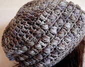 Crochet Slouchy Hat in Grey, Sized for Teens and Woman, Year Round Accessory