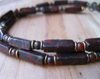 Poppy Jasper, Brass Necklace - Mens Beaded Necklace, Mens Gemstone Necklace, Rustic Necklace, Womens Beaded Necklace