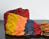 NY SALE - Sweater Style - Color Stripe - Handknitted Multicolor Chunky Long Scarf