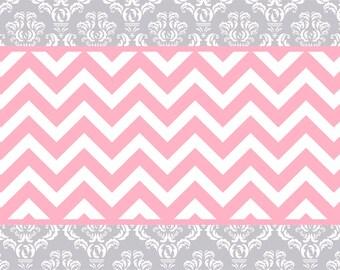 Silver Grey Amp White Damask With Pink Chevron Plush Fuzzy