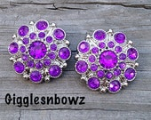 NEW Set of Two LIMITED EDITION Purple Acrylic Rhinestone Buttons 27mm