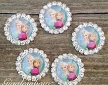 Frozen Inspired 5pc Metal Rhinestone Princess Elsa Cabochon Resin Flat Back Scrap Booking Hair Bow Center Kids Crafts Making DIY 20MM