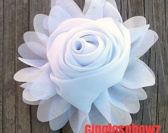 New to Shop- 3 Inch Chiffon Rolled Rose with Ruffles- WHiTE,  Single Flower