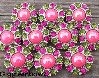NEW Set of 10- SHiNY HoT PiNK Pearl with LiME GReeN and SHoCKiNG Pink Rhinestone Buttons 25mm