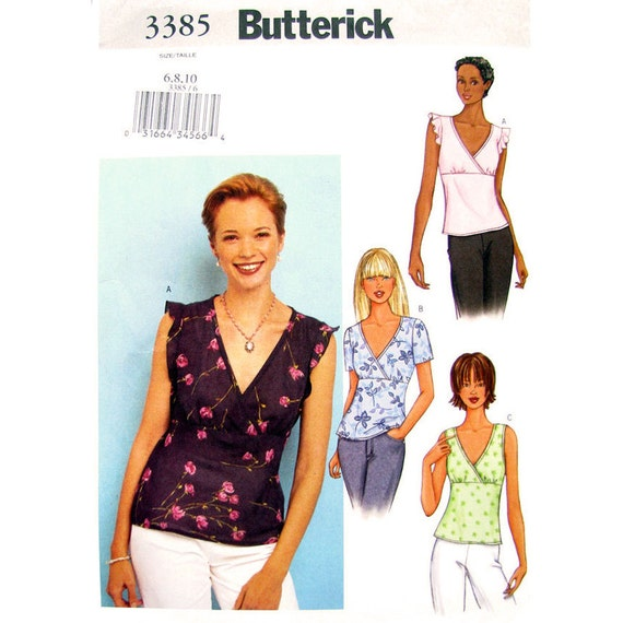 Empire Top Sewing Pattern Butterick 3385 Mock Wrap Top Flounce Sleeve Pullover Top Size 6 8 10