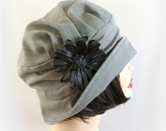 Vintage Inspired Cloche Hat, The Alice in Black White Gray, with Flower Pin, Choose your Size.