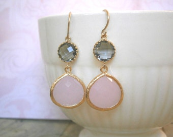 Blush Pink Earrings, Grey Earrings, Gold Earrings, Blush Pink Gray Wedding, Bridesmaid Jewelry