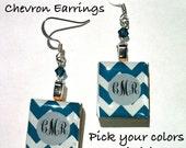 Chevron Monogram Scrabble Earrings- Custom Colors & Initials